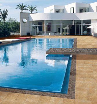 Tile used outdoors will  require a higher slip resistance that most indoor tile.