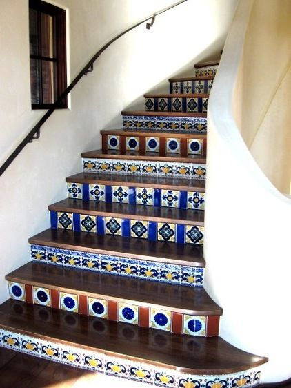 Hand Painted Tiles add spice to any staircase