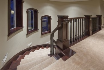 A tight nylon, patterned carpet will hold up well on a busy staircase.